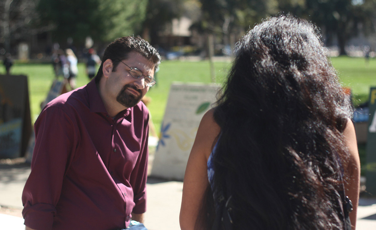 Josh Brahm finding common ground with a UC Davis student about how horrible rape is.