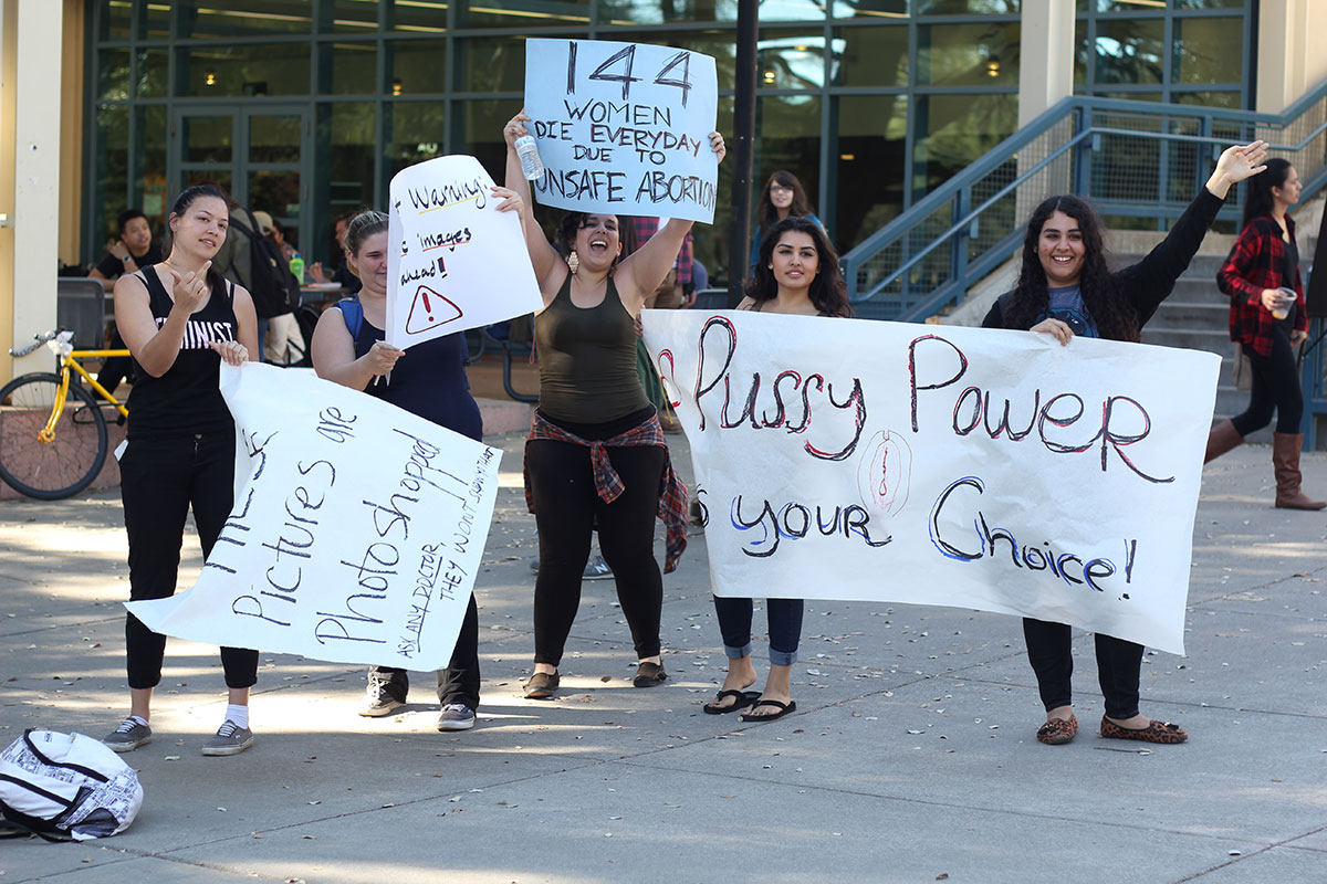 Pro-choice protesters at UC Davis.