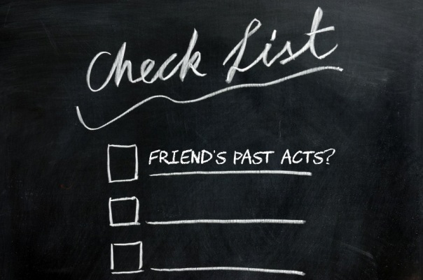 "Graphic of a check list written on a chalkboard, and ""Friend's past acts""? being a questionable option, especially given that some of your friends are probably post-abortive."