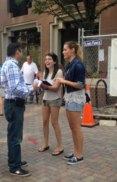 SFLA's Michele Hendrickson and Angela Erickson during our outreach. Photo courtesy of SFLA.