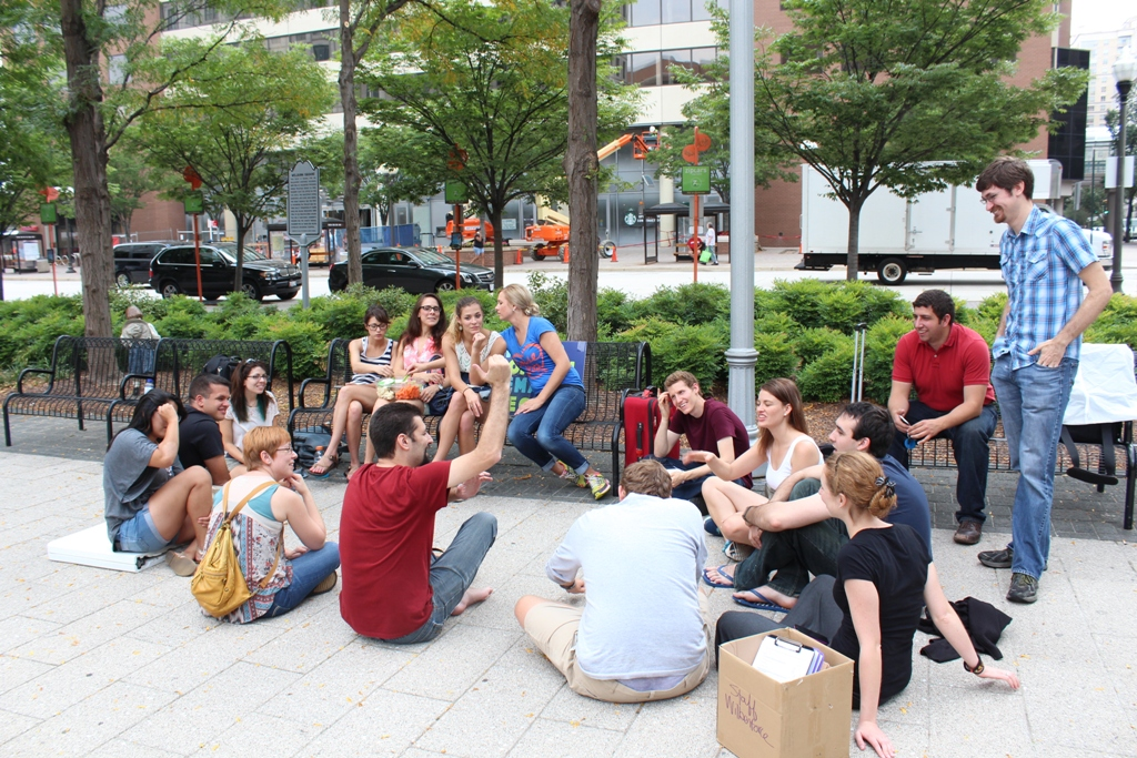 Debriefing after our outreach. Photo courtesy of SFLA.