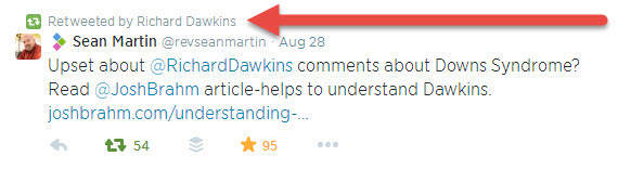 richard dawkins retweet with arrow
