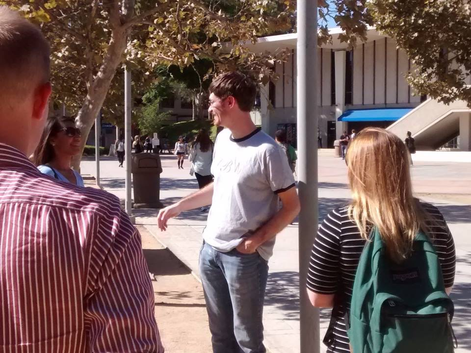 Timothy Brahm engages with pro-choice students at CSU Fullerton while training pro-life students from Biola who went through our seminar.