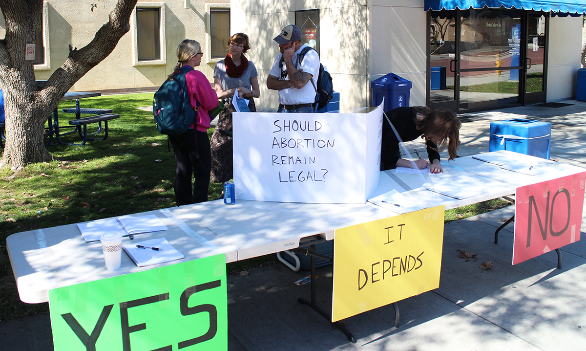 On February 21st, 2015, Equal Rights Institute trained a group of students and community members in Bakersfield, CA. Then on the 23rd and 24th we brought them to CSU Bakersfield so they could put what they learned about dialogue into practice. We set up two simple poll tables to get conversations started.