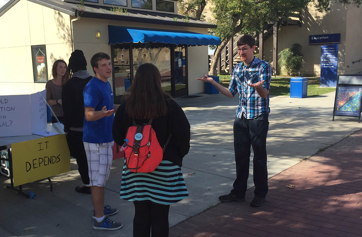 Timothy engages students at CSU Bakersfield.