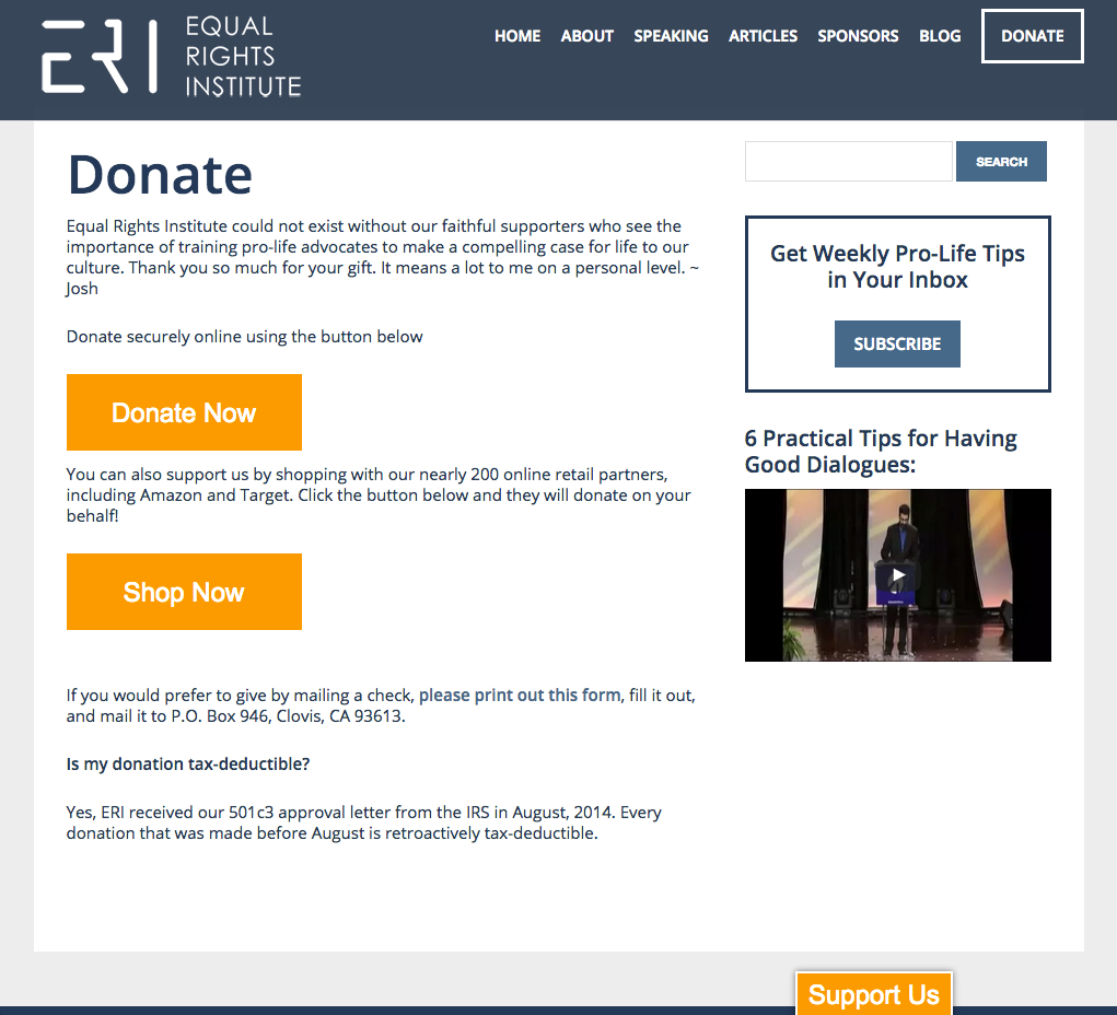 new donate page