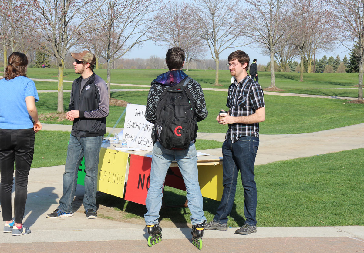 "Timothy allows a student to have a ""thinking pause"" at Grand Valley State University."