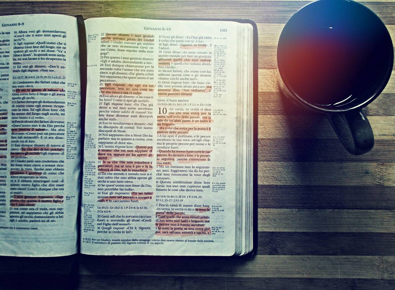 Picture of highlighted Bible and coffee cup, similar to lots of pictures that Christians sometimes post on social media that can come across as virtue-signaling.