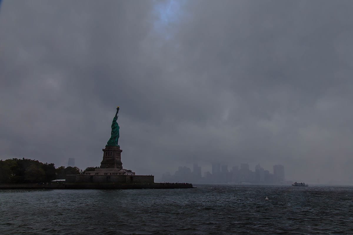 Statue of Liberty dark cloudy