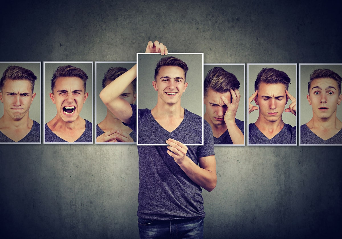 Image: Man choosing from multiple face options.