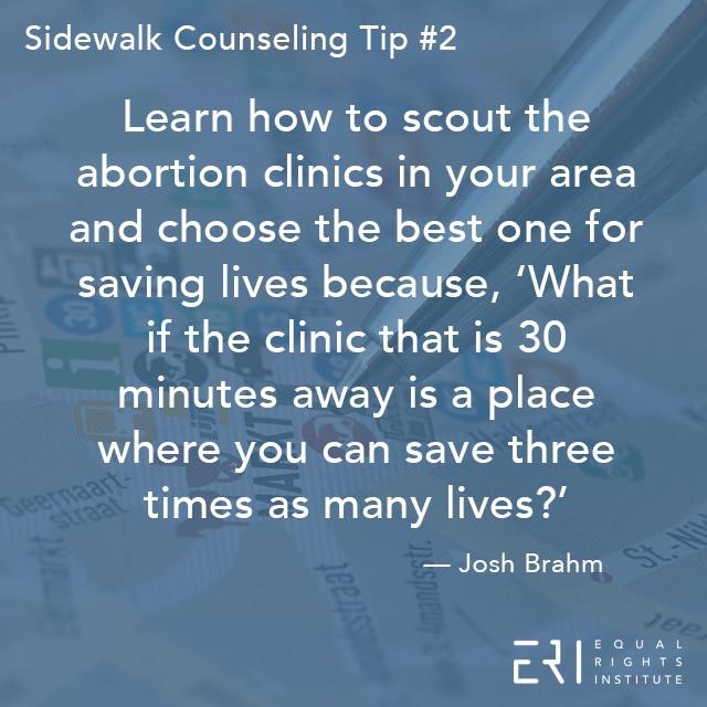 Sidewalk Counseling Tip number 2