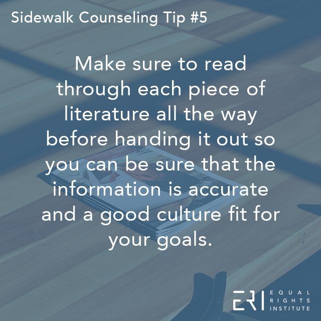 Sidewalk Counseling Tip number 5