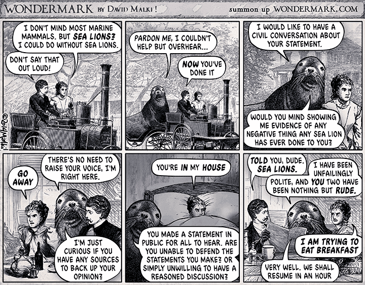 Wondermark cartoon about sealioning
