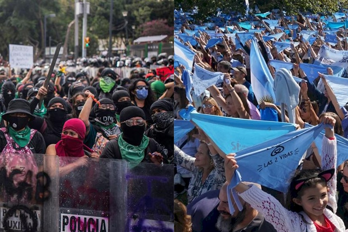 Green and blue woman protesting in Latin America